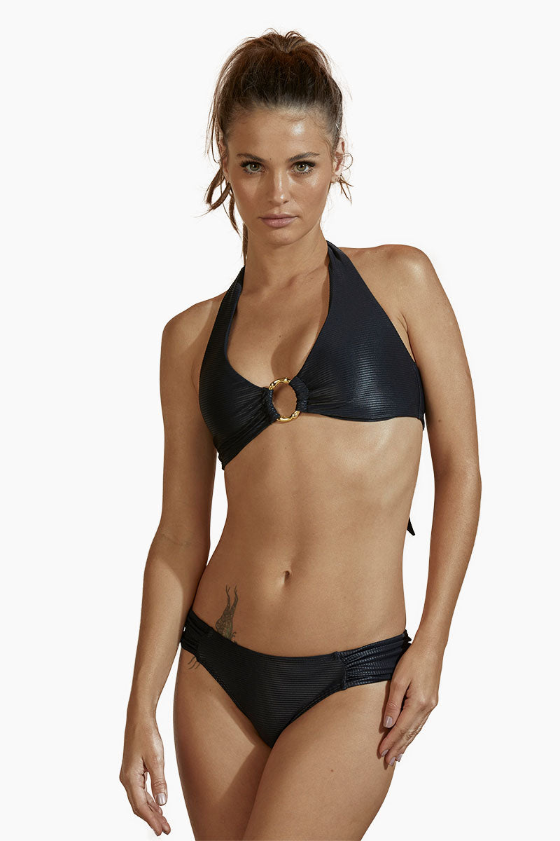 b83ce33d54 AGUA DE COCO Roteiro Halter Center Ring Bikini Top - Metallic Black -  undefined undefined ...