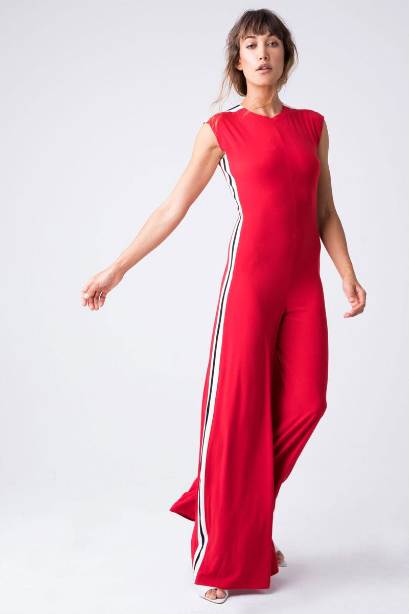 Side Stripe Sleeveless Jumpsuit - Tango Red/Engineered Stripe Print