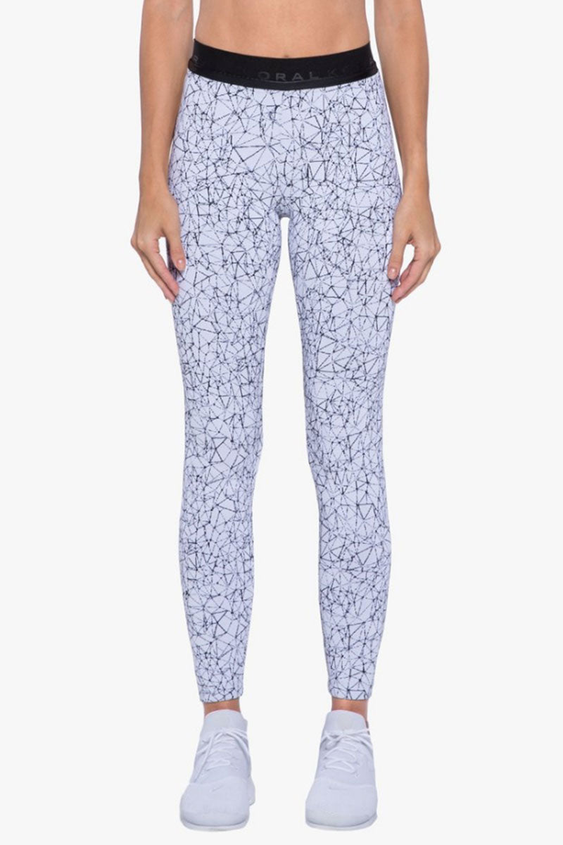 Sloane High Waist Leggings - Molecular White Geometric Print