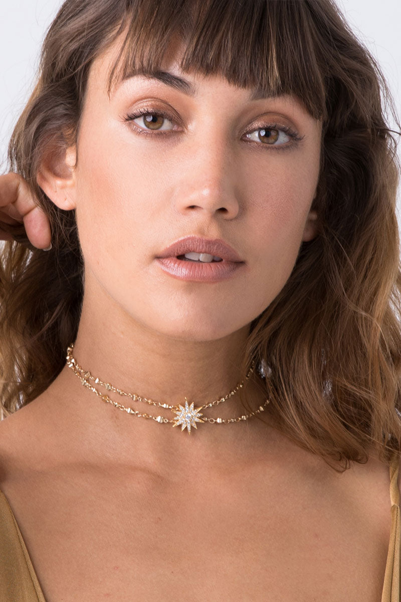 Sunburst Hanging Choker - Gold
