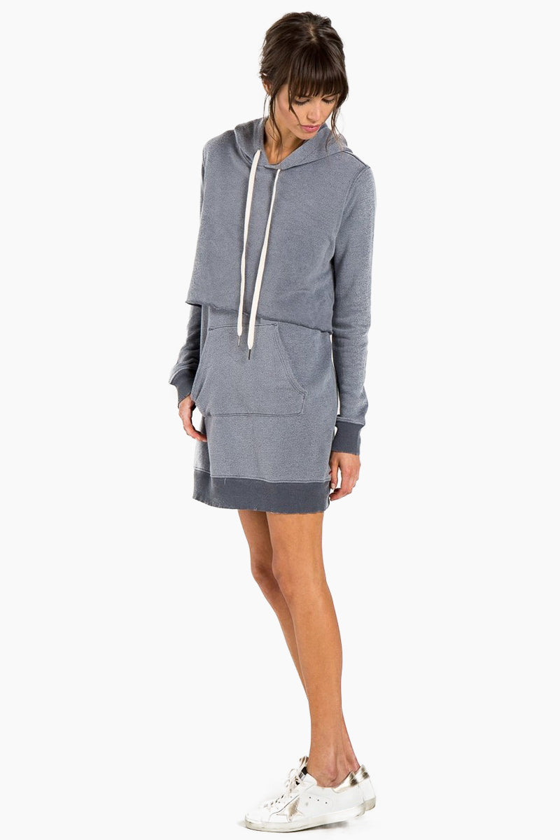Sammy Hoodie Sweatshirt Mini Dress - Asphalt Gray