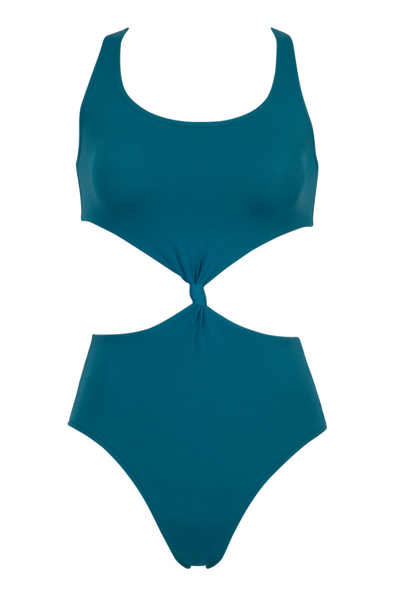 The Bailey Knot-Front Cut-Out One Piece Swimsuit - Jade