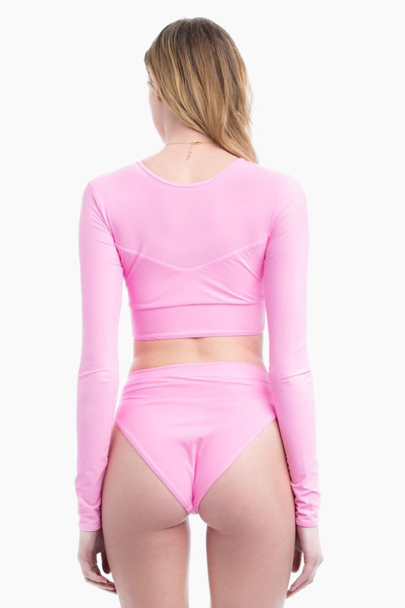 Baby Beach High Cut High Waist Bikini Bottom - Millennial Pink