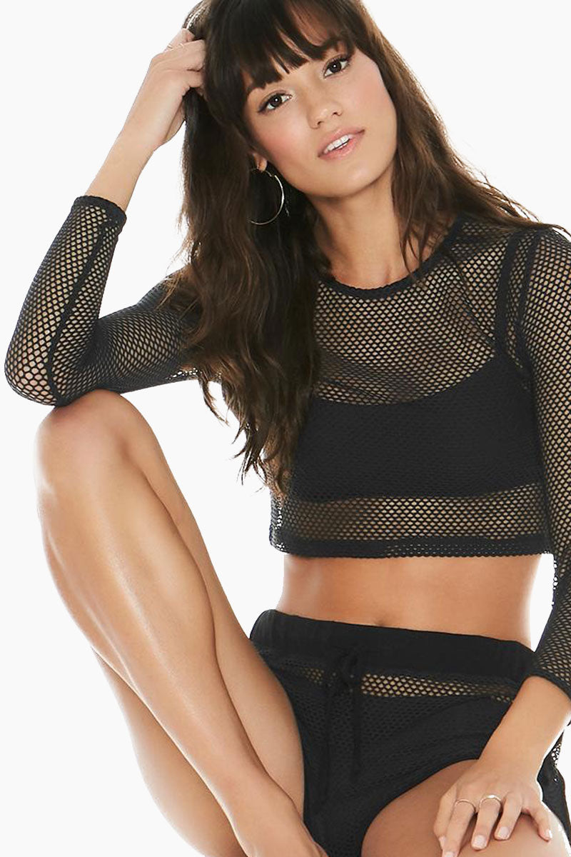 Sarah Mesh Long Sleeve Crop Top - Black