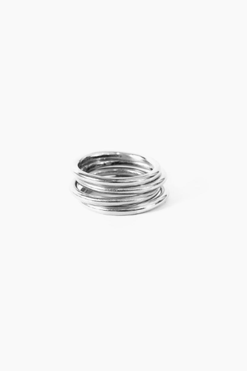 Silver Saros Stack Ring