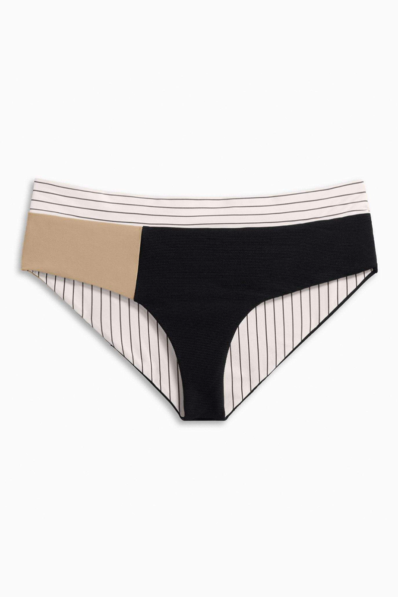 Makaveli Color Block Mid Rise Moderate Bikini Bottom - Business Casual Tan & Stripe Print
