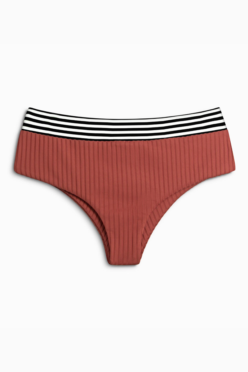 Raz Ribbed Mid Rise Bikini Bottom - Brick Haus Red & Stripe Print