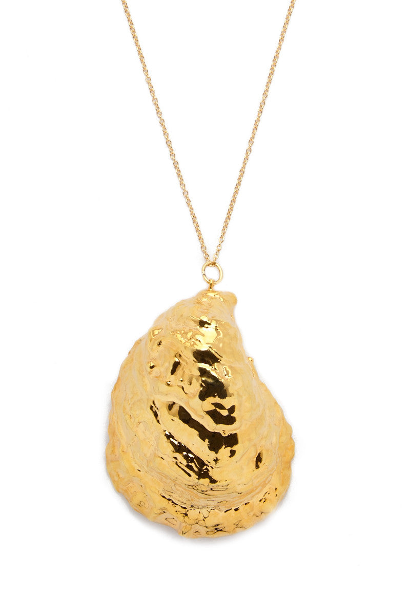 SEA DIPPED Real Oyster Shell Necklace Accessories | Gold| Sea Dipped Real Oyster Shell Necklace