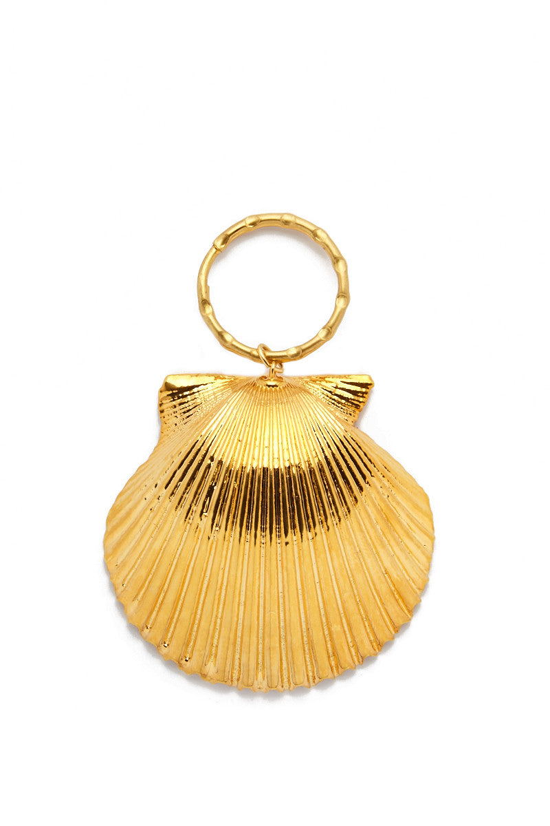 SEA DIPPED Real Scallop Shell Keychain Accessories   Gold  Sea Dipped Real Scallop Shell Keychain
