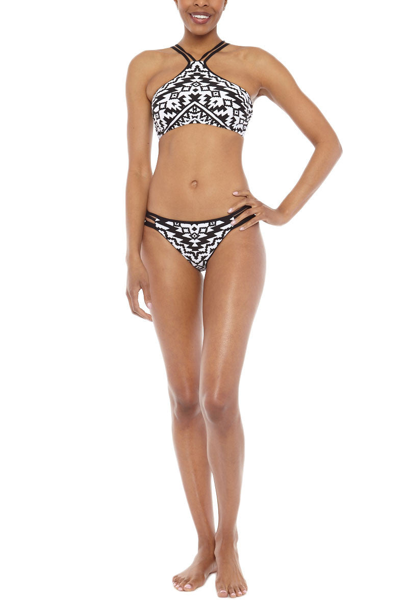 SEAFOLLY Kasbah High Neck Top Bikini Top | Kasbah Black & White| Seafolly Kasbah High Neck Bikini Top