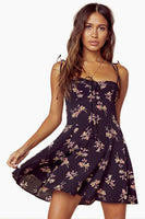 Summer Shirred Sweetheart Corset Waistline Short Floral Print Dress With a Bow(s)