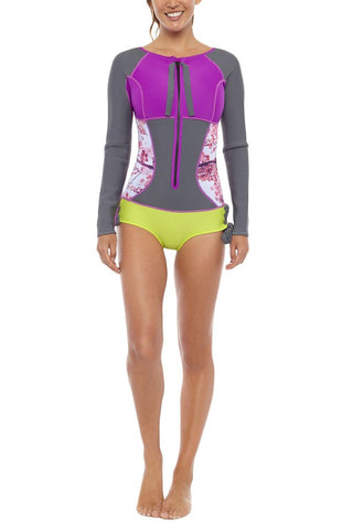 SIRENSONG WETSUITS Long-Sleeve Hawaiian-Cut Springsuit One Piece | Blossom| Sirensong Long-Sleeve Hawaiian-Cut Springsuit