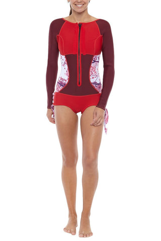 SIRENSONG WETSUITS Long-Sleeve Booty-Cut Springsuit One Piece | Cherry| Sirensong Long-Sleeve Booty-Cut Springsuit