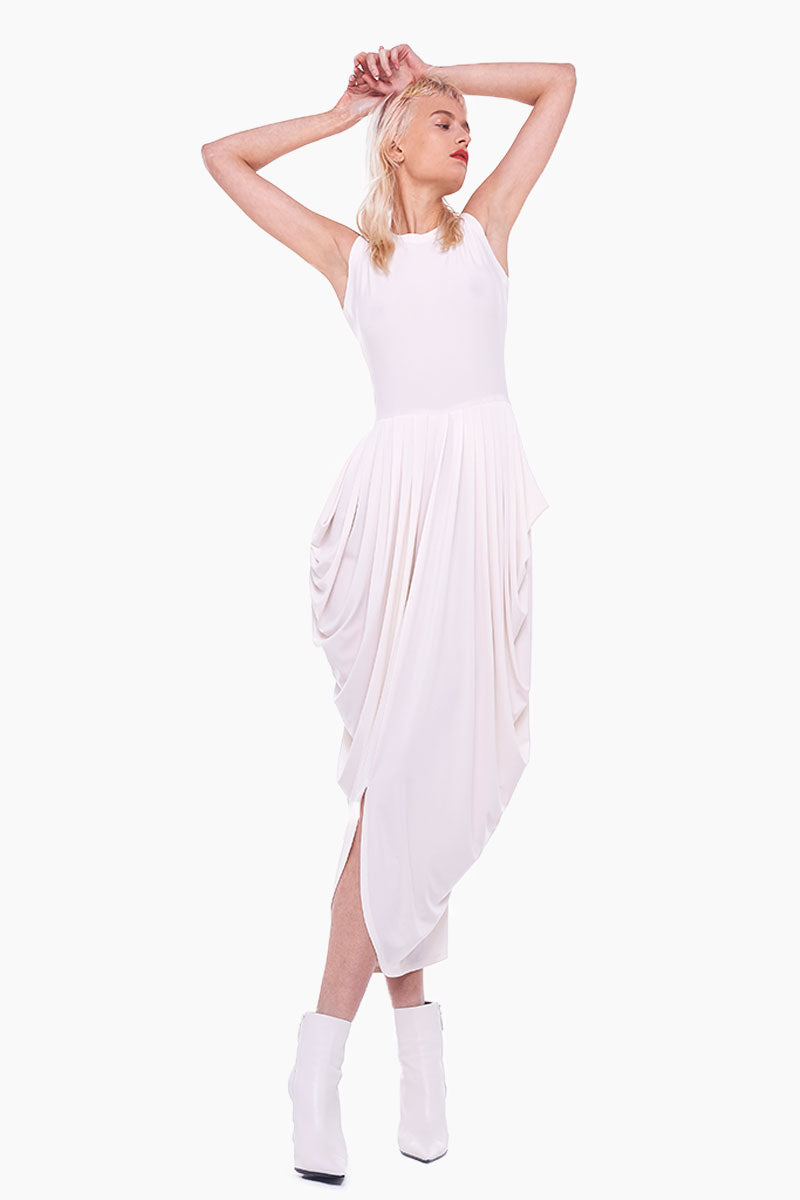 Sleeveless Waterfall Midi Dress - Almost White