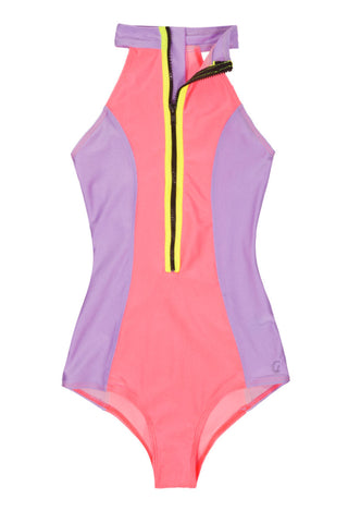KOVEY Point Break Surf Suit One Piece | Guava/Lilac/Bolt|