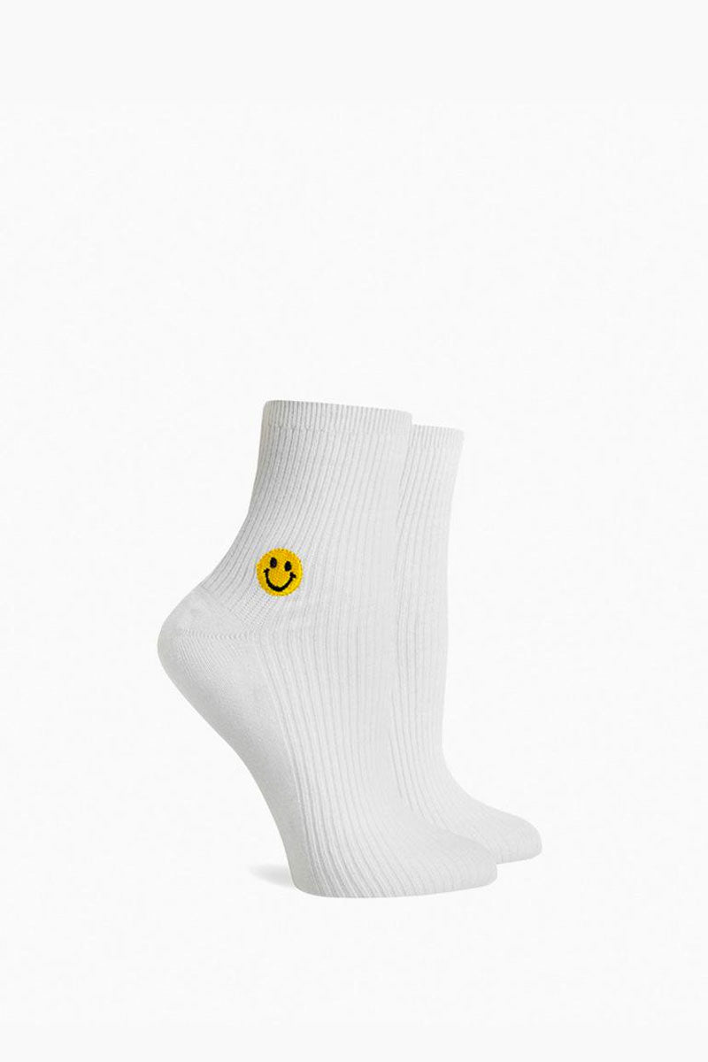 Smiles Ankle Socks - White