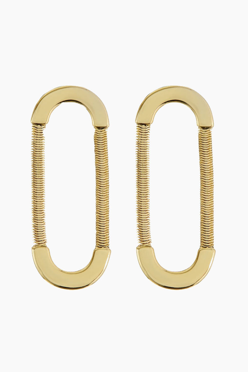 Snake Chain Loop Studs - Gold