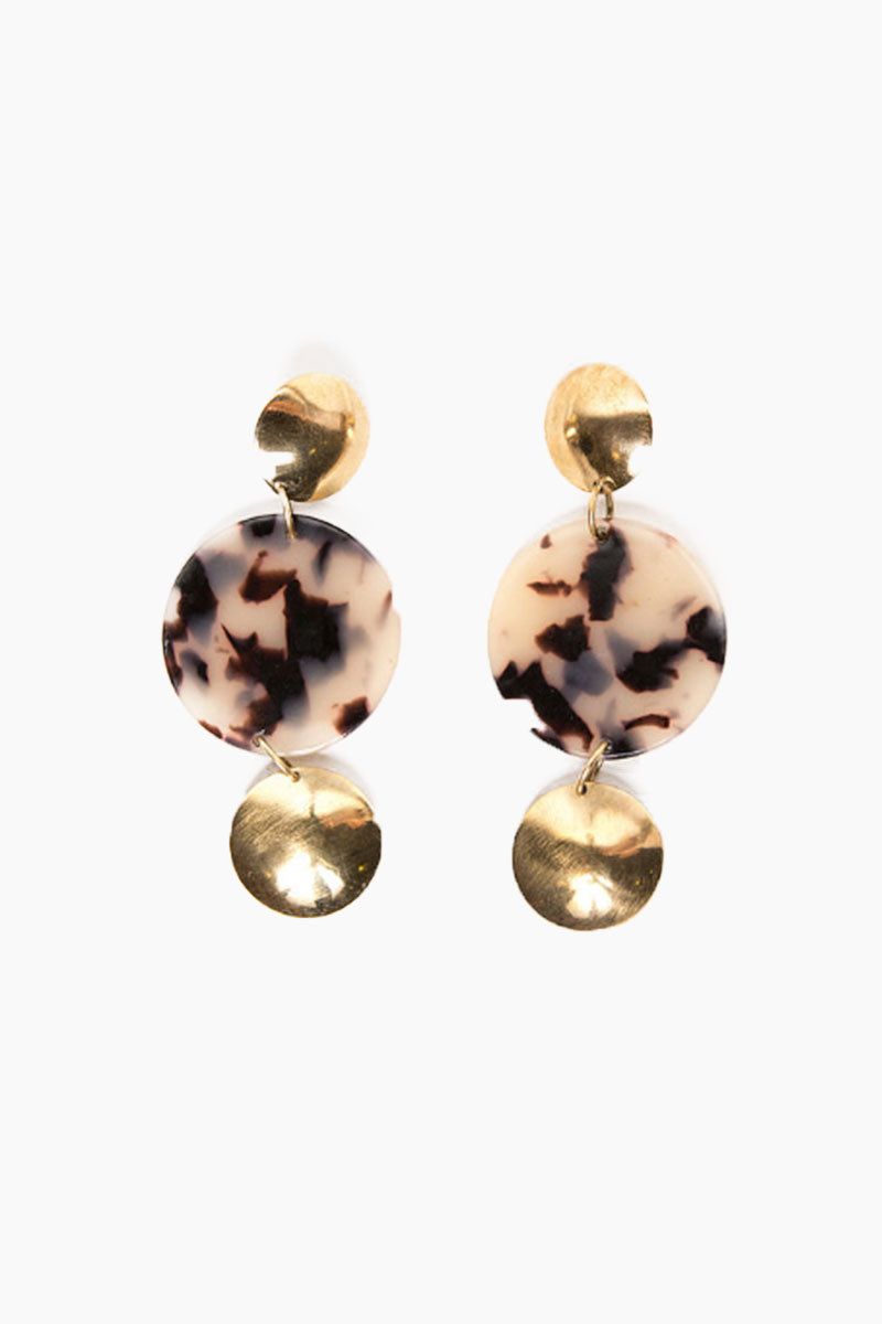 Soho Circle Dangle Earrings - Blonde Tortoise Print