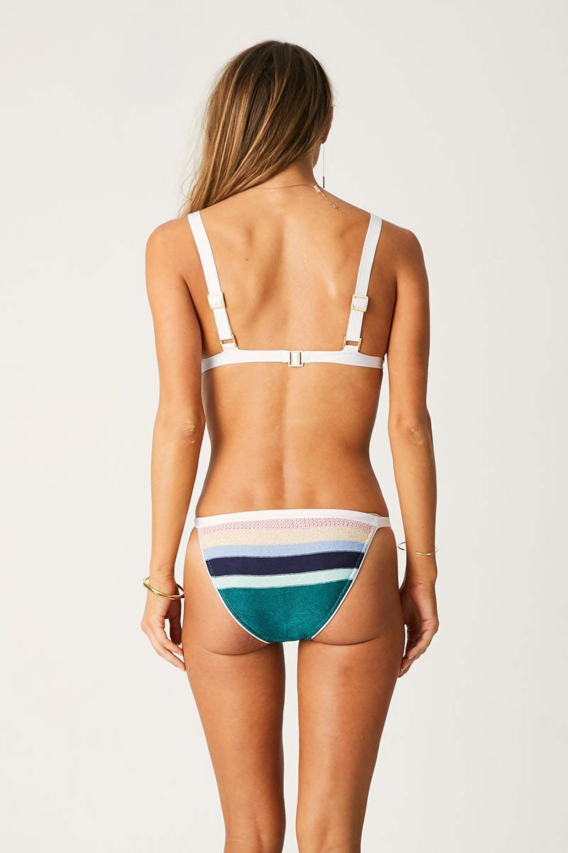 Knitted High Cut Brazilian Bikini Bottom - Paradiso Rainbow Stripe Print