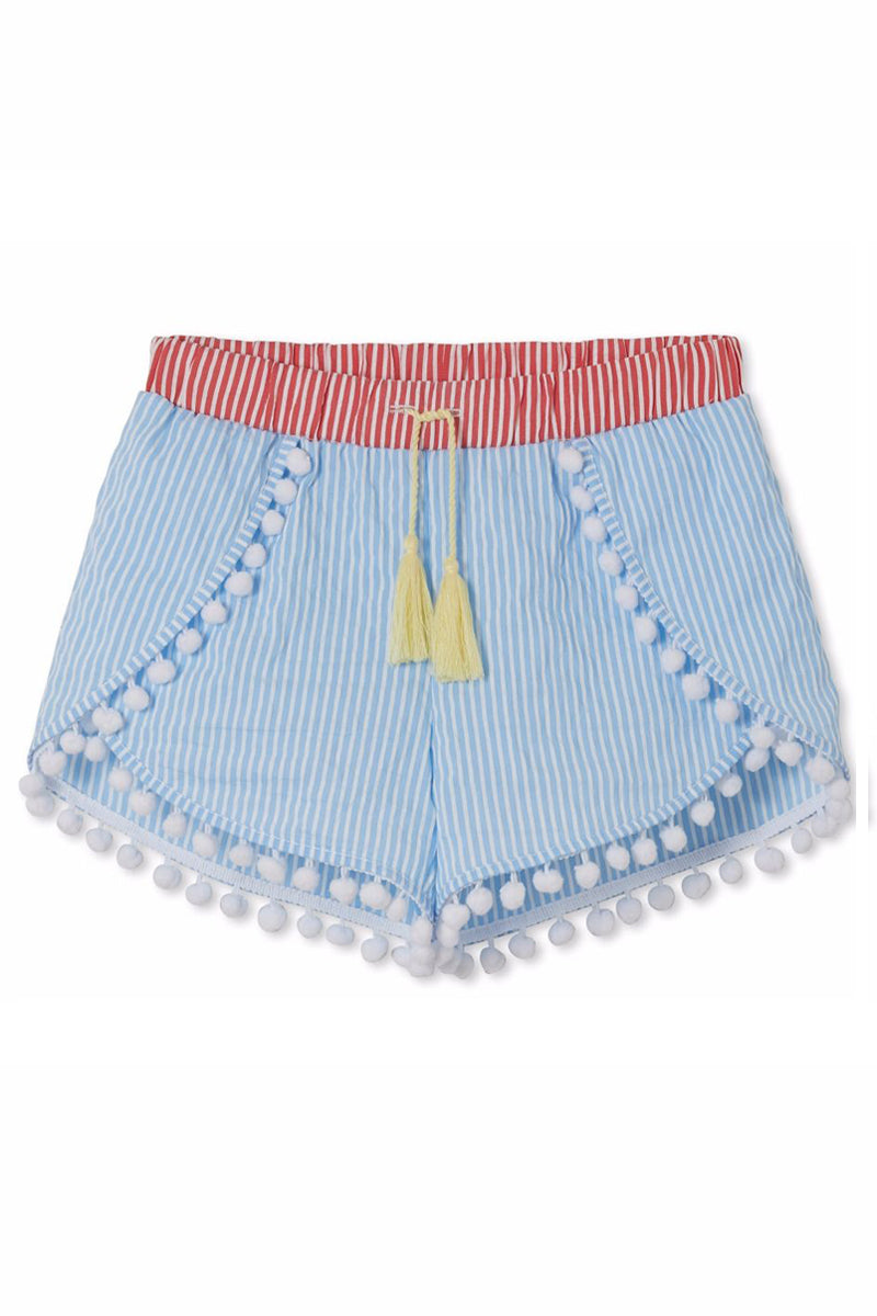 481cdbbb08 Blue & Red Striped Pom Pom Shorts With Tassel (Kids) | Bikini Shopping!