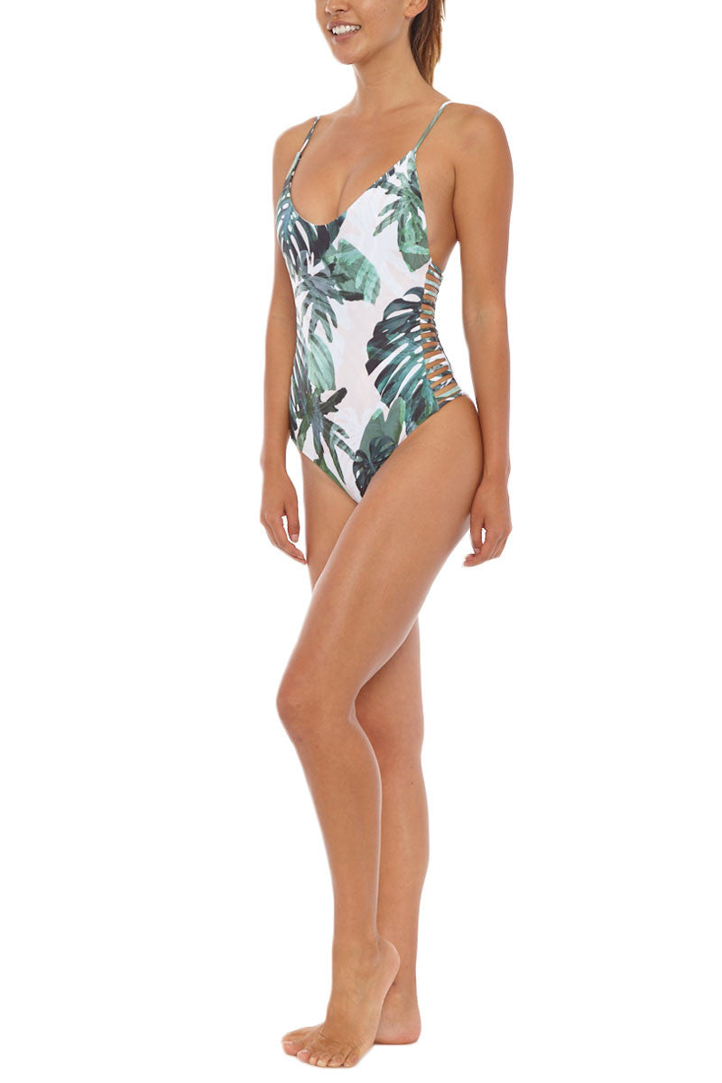 Hermosa Strappy Sides One Piece Swimsuit - Monster Fruit Tropical Print