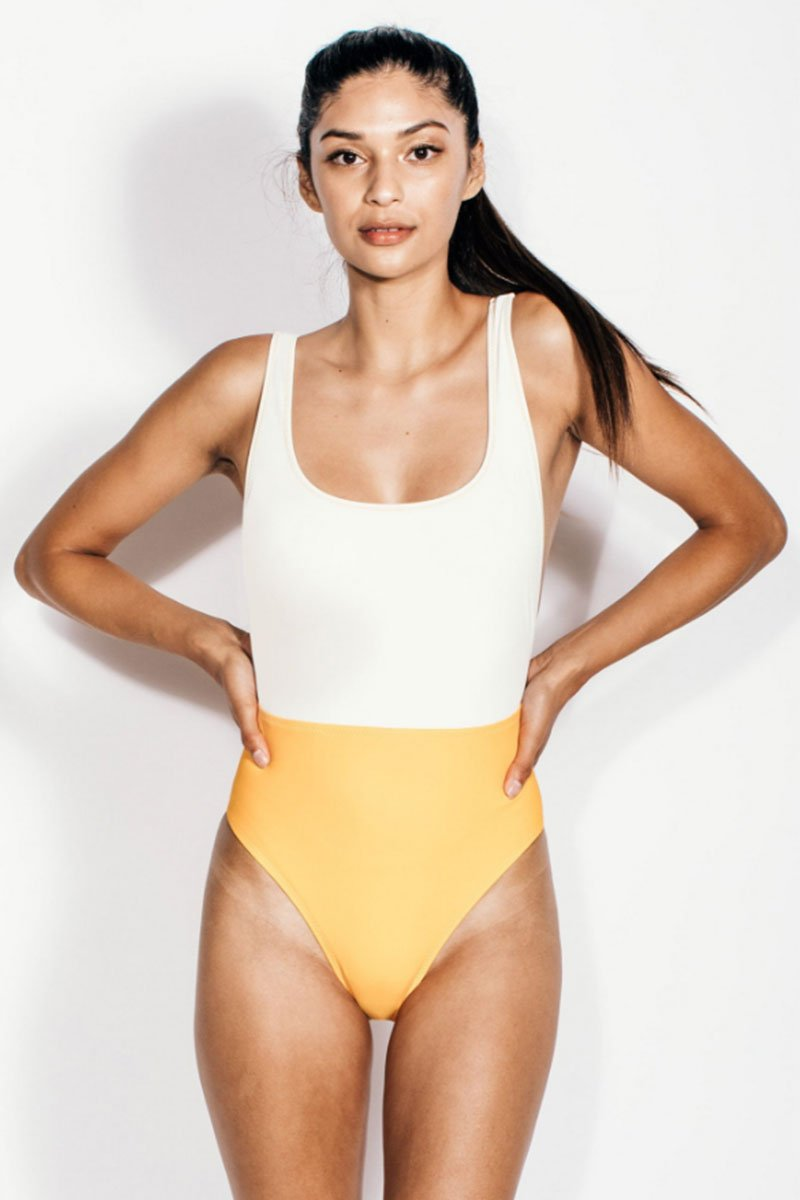Nyx Color Block High Cut One Piece Swimsuit - Cream White/Orange Dream