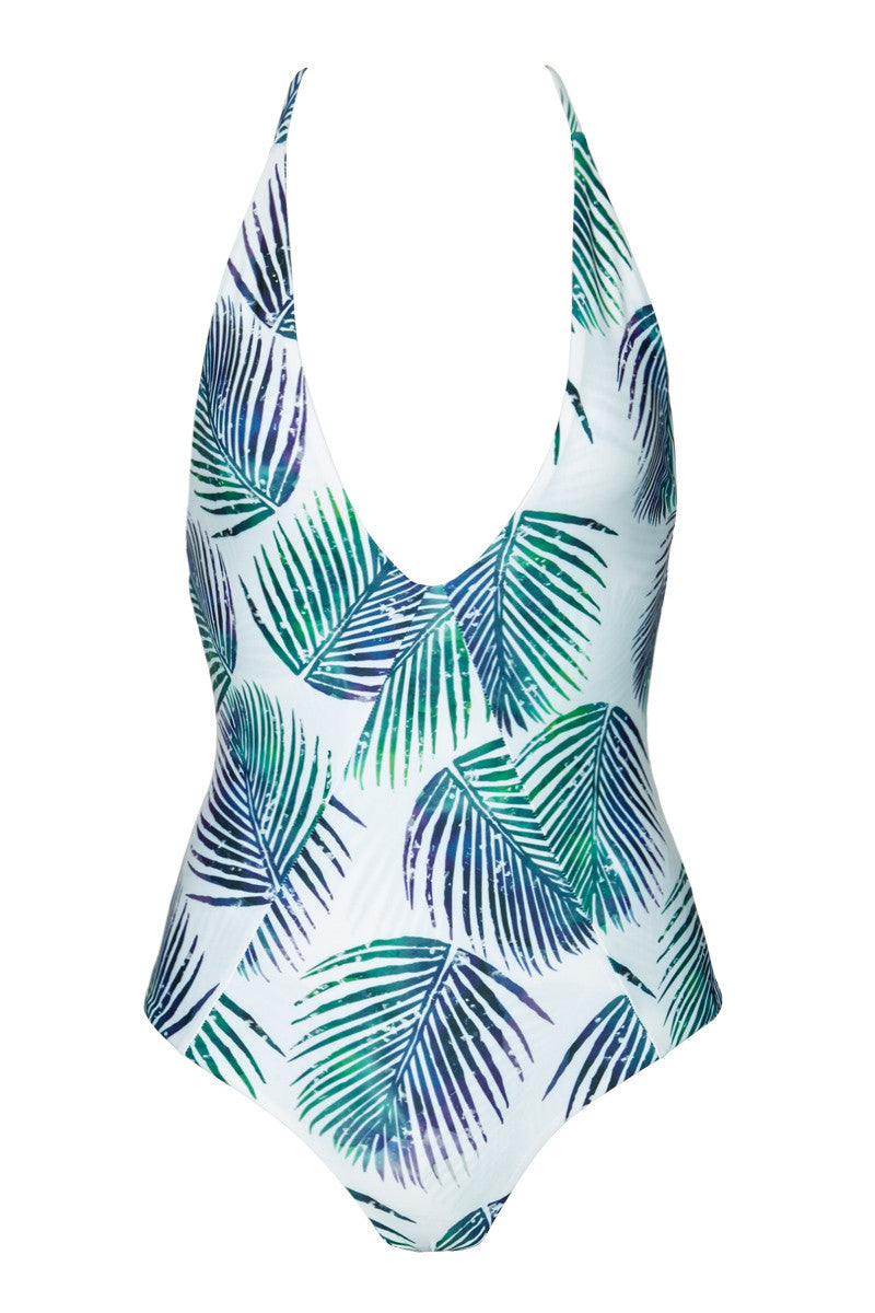 Palma Plunging Open Back One Piece Swimsuit - Petrogleaf Tropical Print
