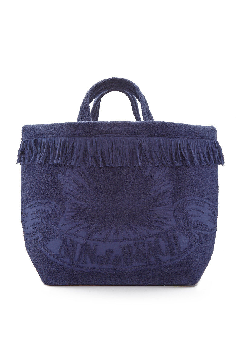 Sun of a Beach Watch Out Oversized Beach Bag - Ocean Blue/White Eye Print