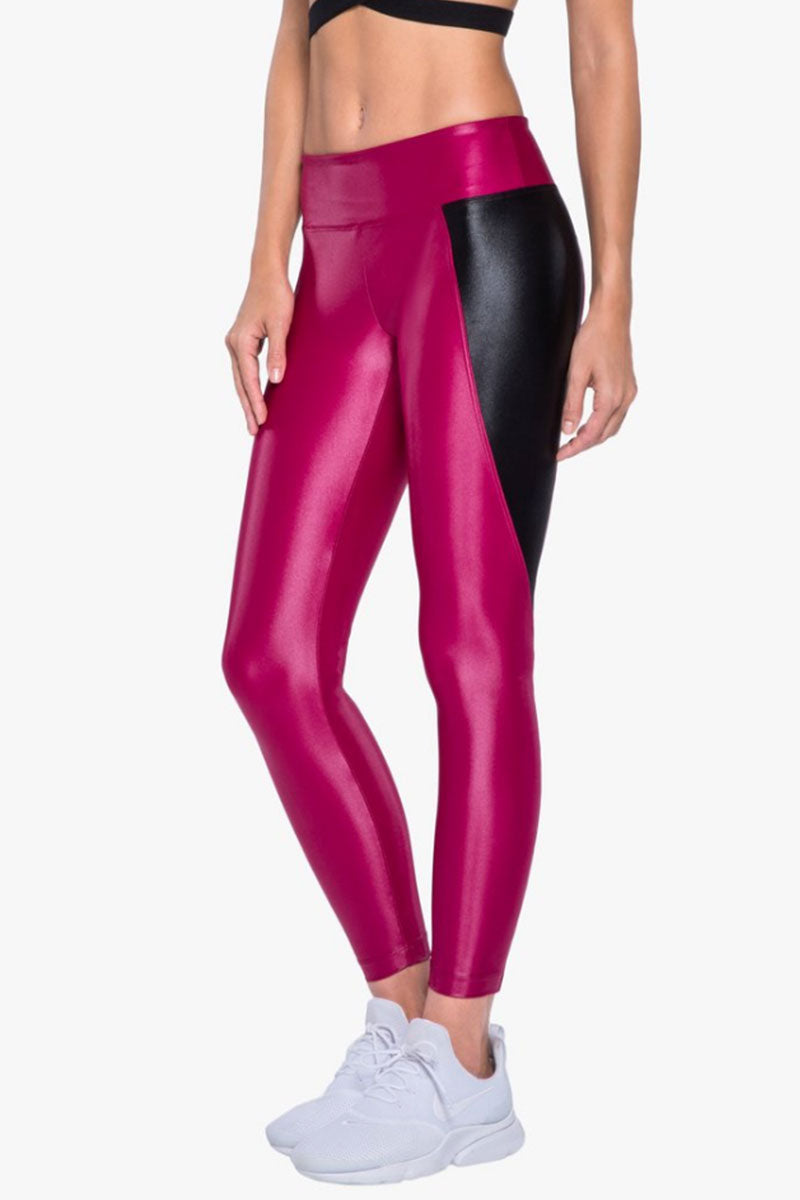 Surrey Color Block Infinity High Waist Leggings - Azalea Pink/Black