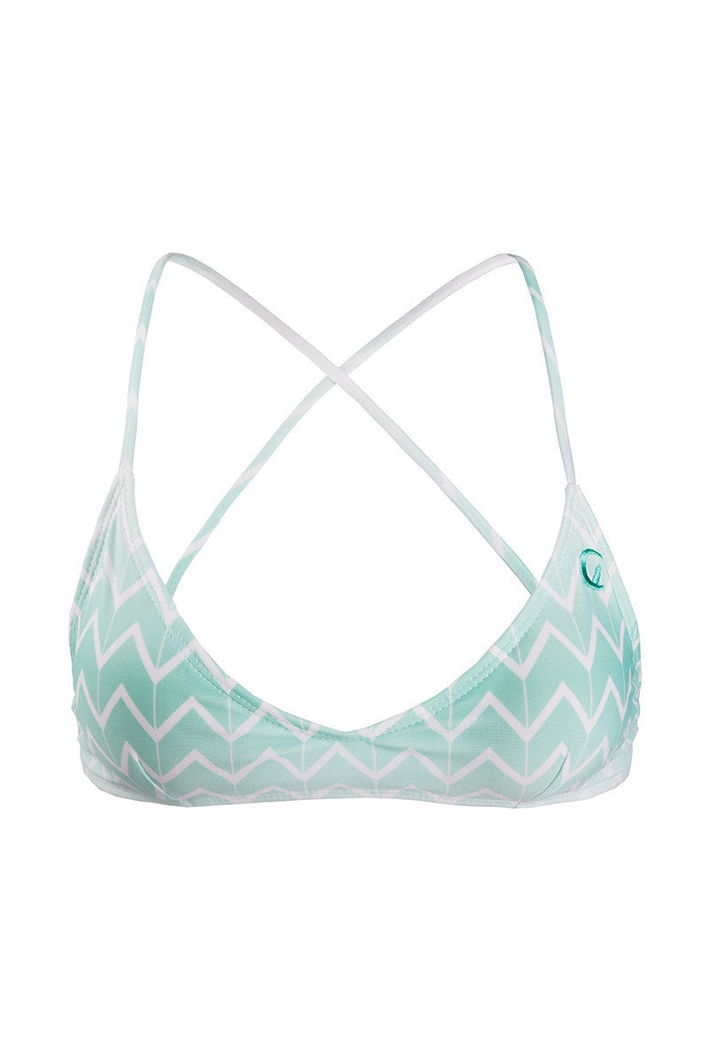 Swell Criss Cross Back Bralette Bikini Top - Currents Blue Zig Zag Print