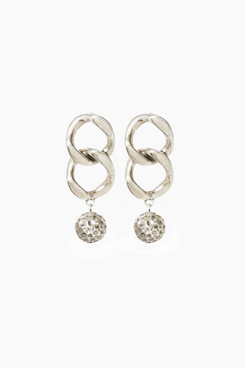 The Chain Link Hammered Ball Drop Earrings - Silver