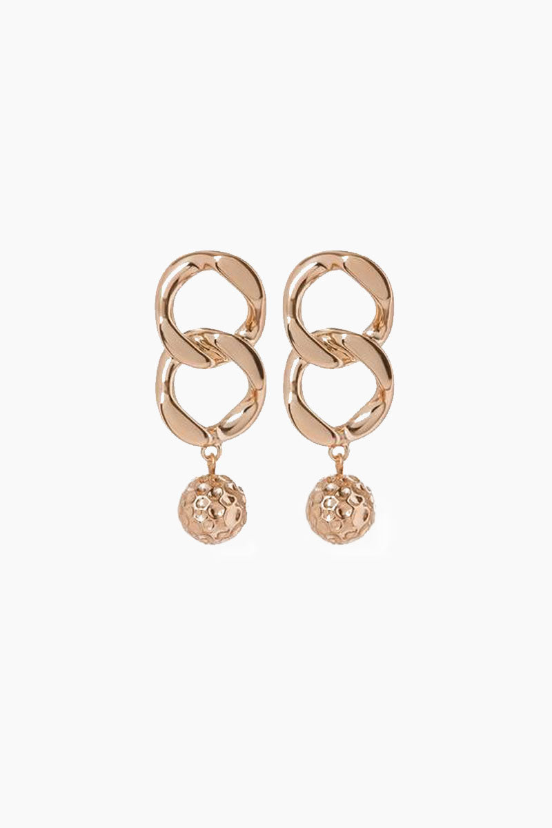 The Chain Link Hammered Ball Drop Earrings - Rose Gold