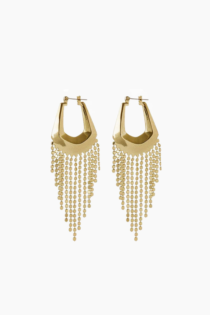 The Faceted Fringe Statement Hoop Dangle Earrings - Gold