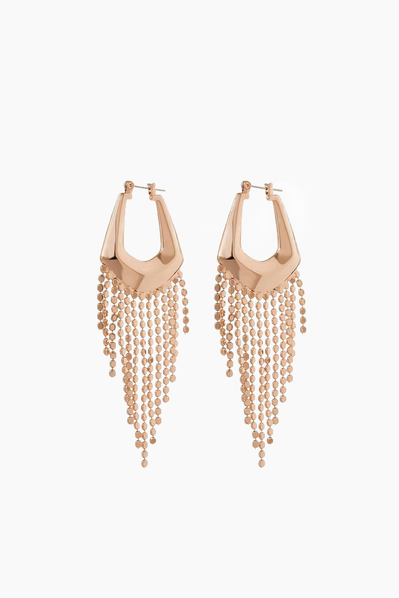 The Faceted Fringe Statement Hoop Dangle Earrings - Rose Gold