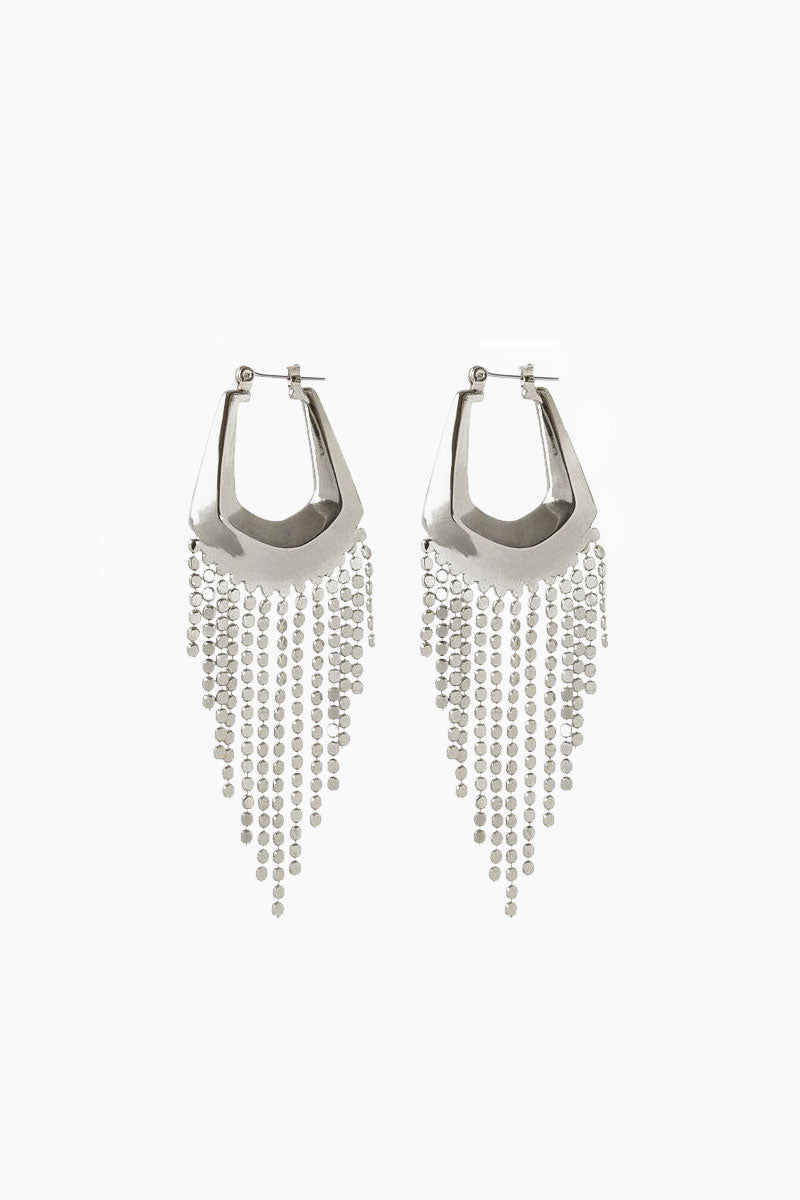 The Faceted Fringe Statement Hoop Dangle Earrings - Silver