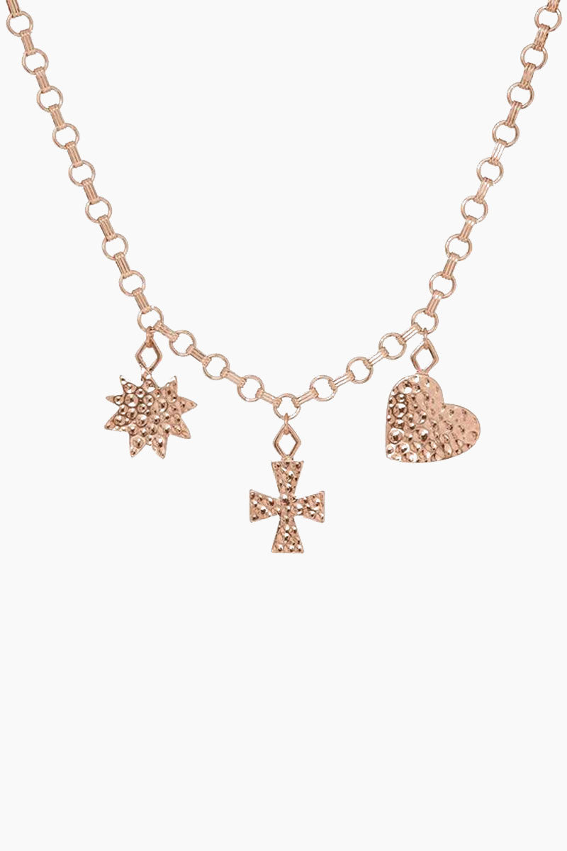 The Hammered Charm Necklace - Rose Gold