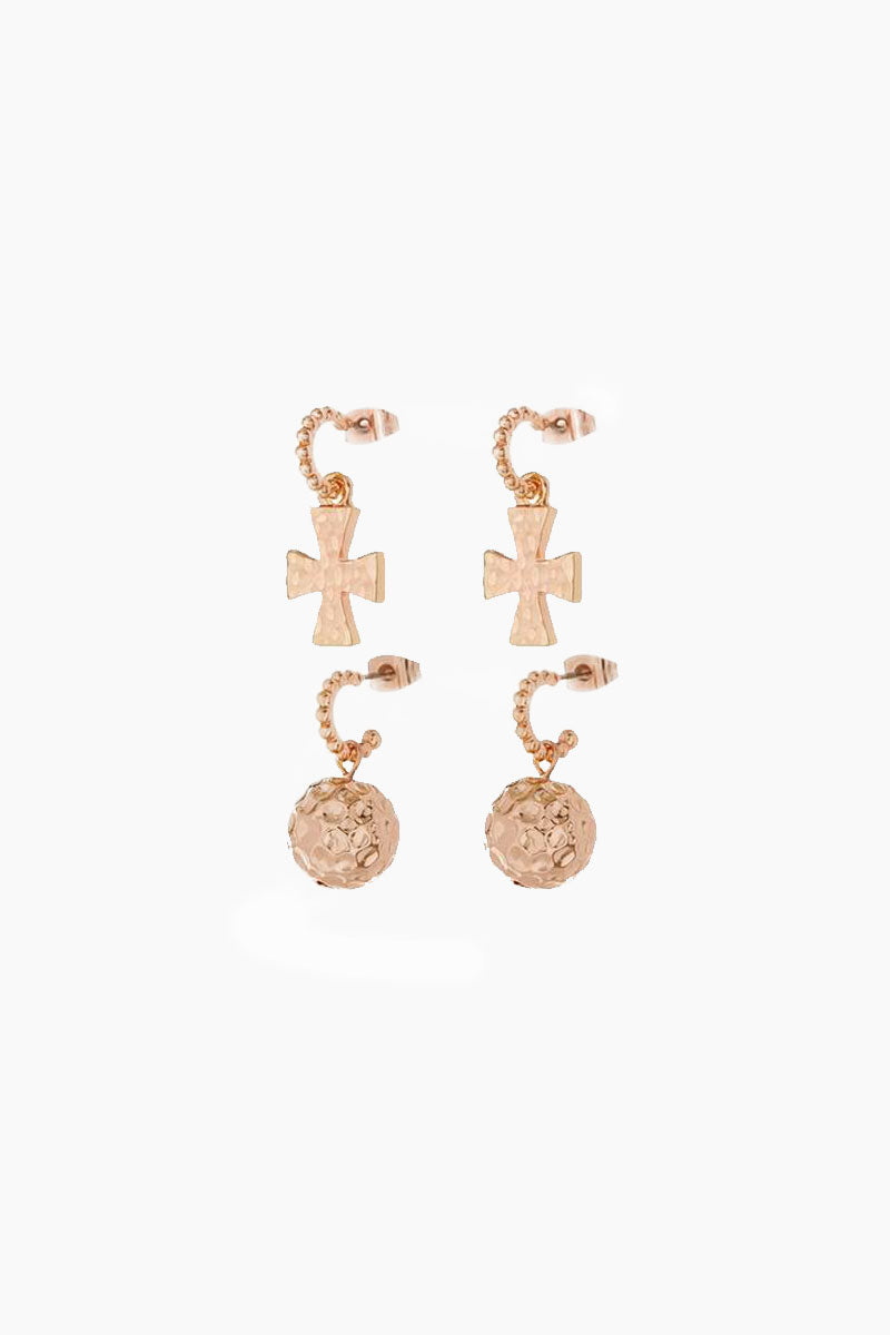 The Hammered Cross + Ball Hoop Earrings (Set of 4) - Rose Gold