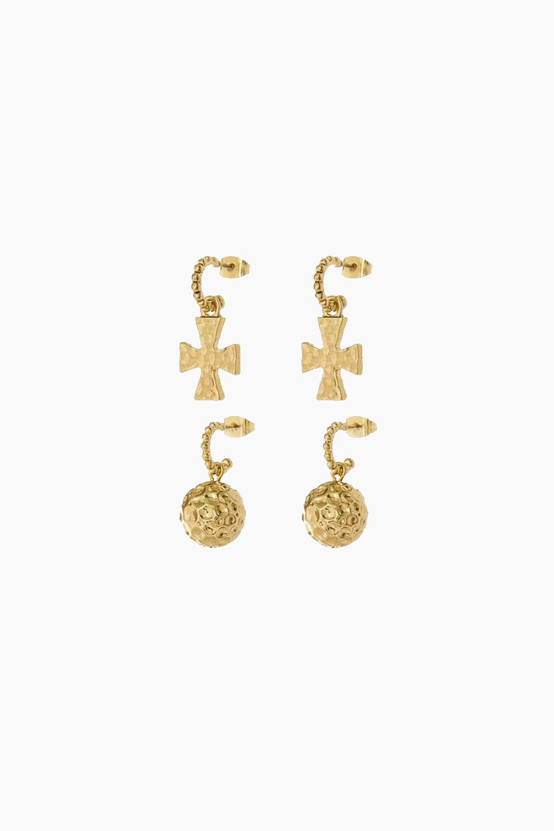 The Hammered Cross + Ball Hoop Earrings (Set of 4) - Gold