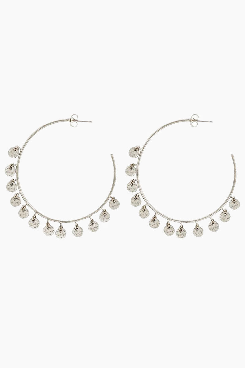 The Hammered Disc Hoops - Silver