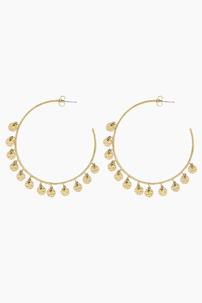 The Hammered Disc Hoop Earrings - Gold