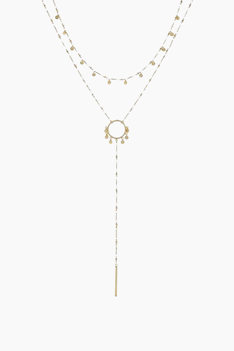 The Hammered Disc Lariat Necklace - Gold