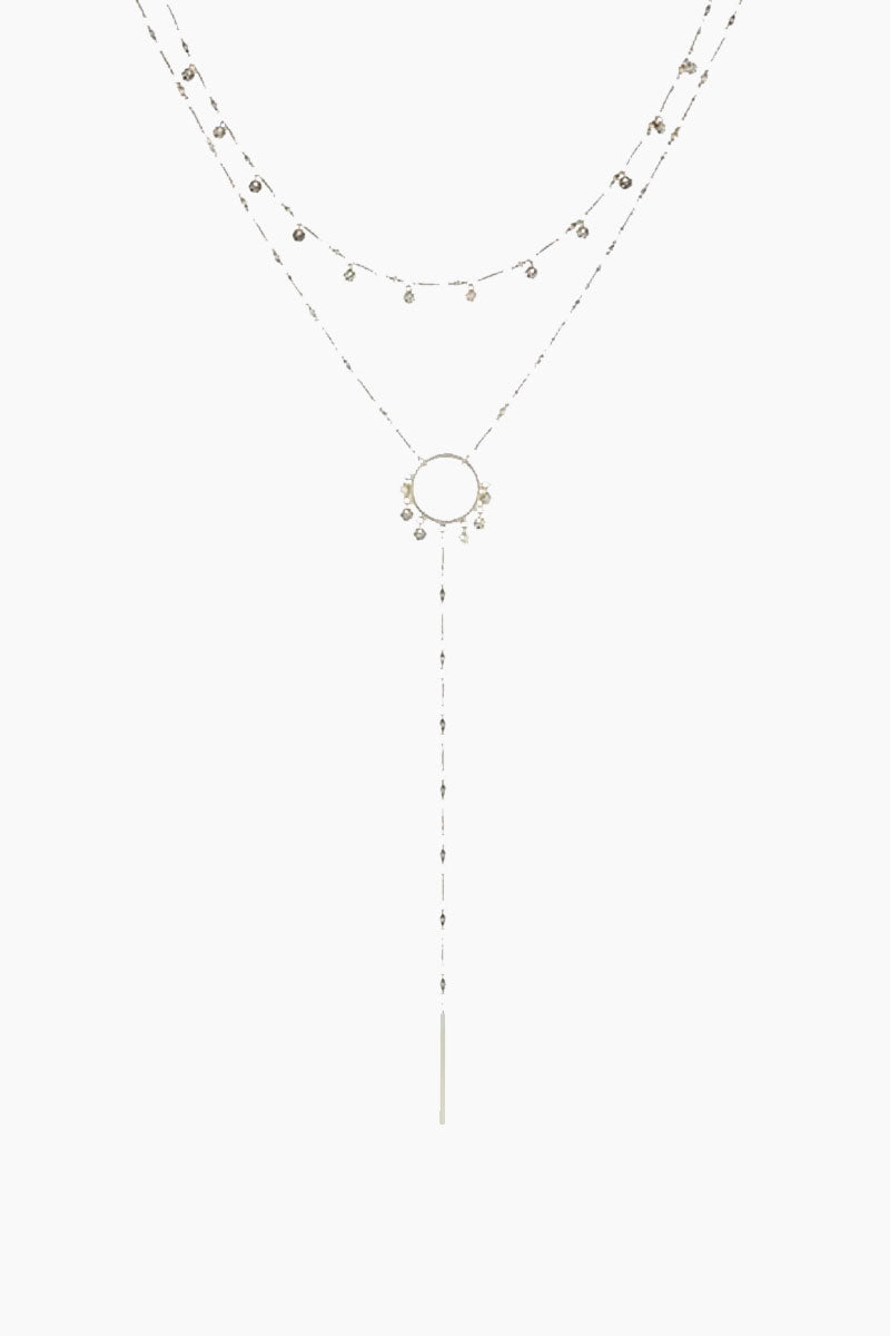 The Hammered Disc Lariat Necklace - Silver