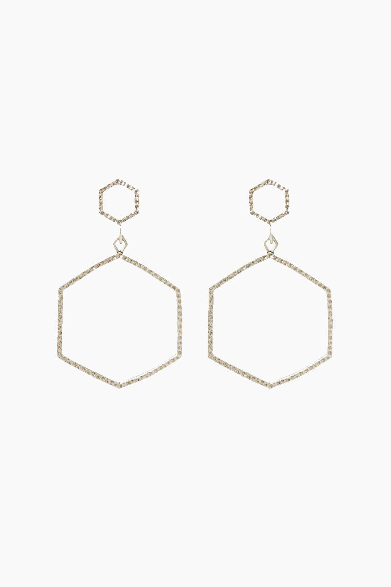 The Hammered Hex Statement Drop Earrings - Silver