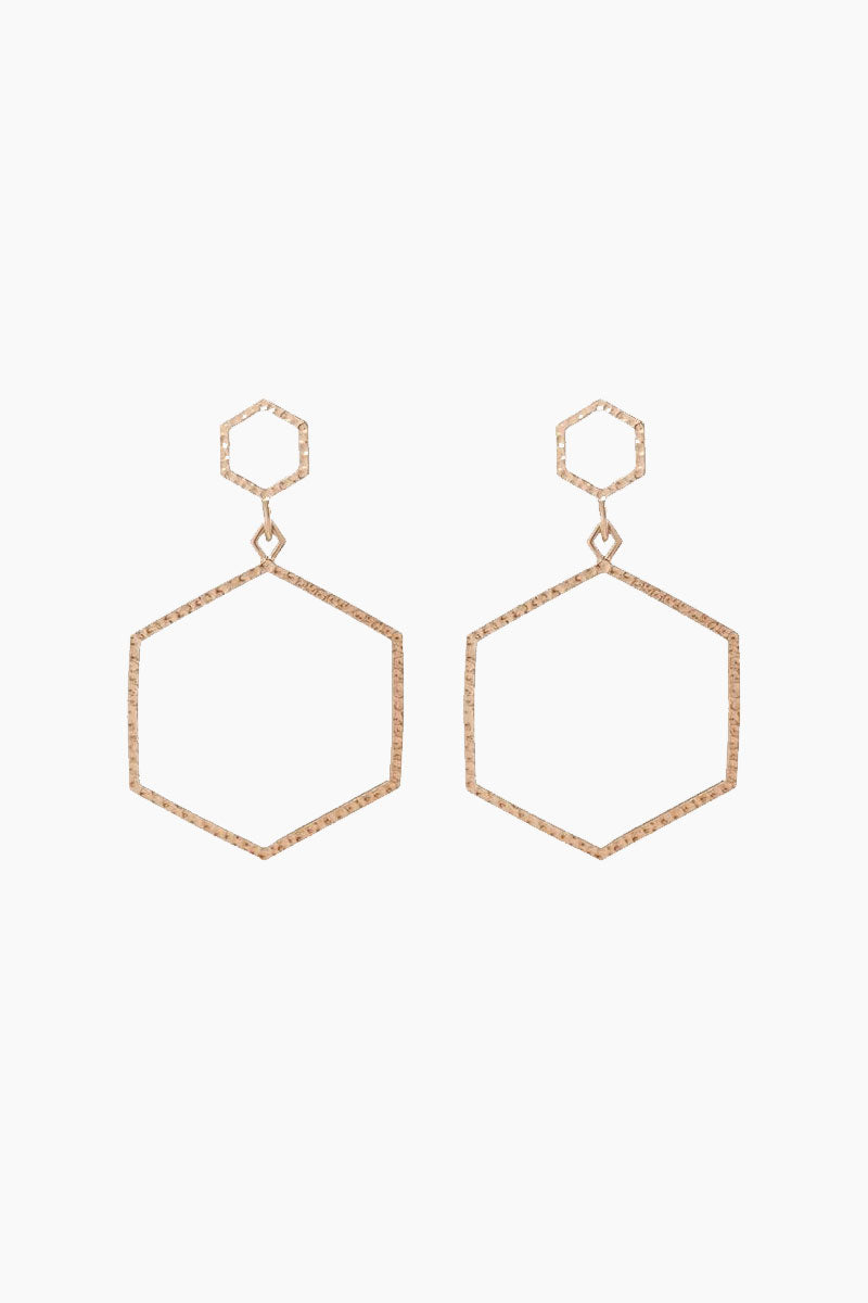 The Hammered Hex Statement Drop Earrings - Rose Gold