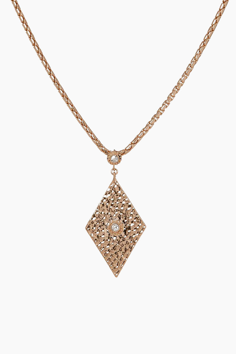 The Hammered Triangle Charm Necklace - Rose Gold