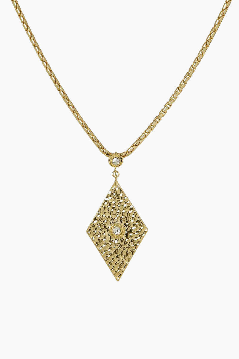 The Hammered Triangle Charm Necklace - Gold