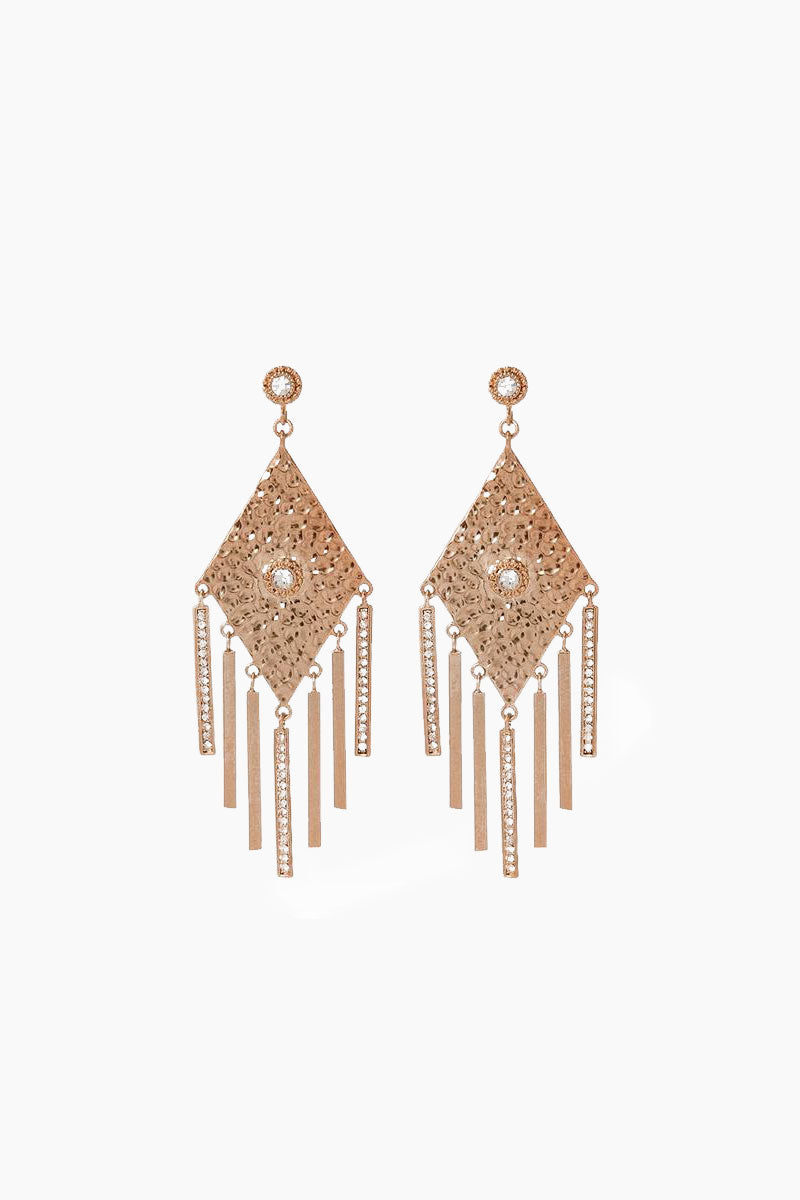 The Hammered Triangle Fringe Earrings - Rose Gold