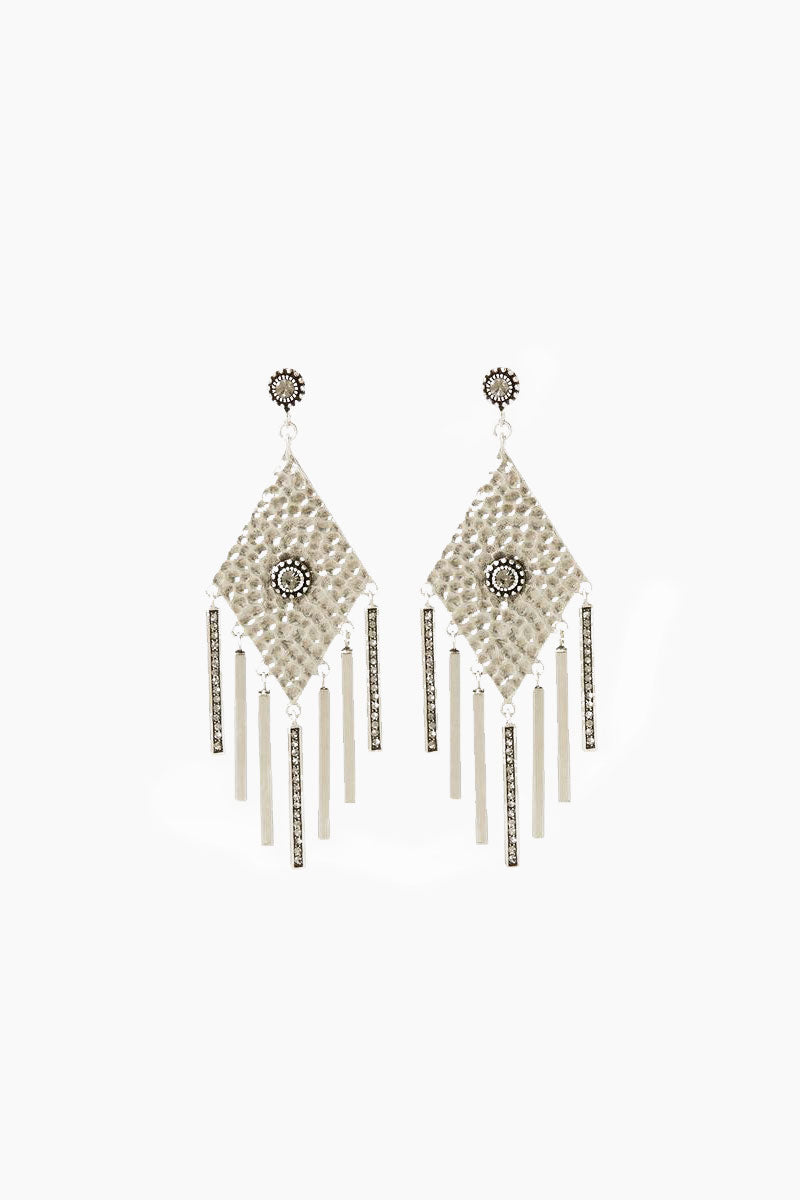 The Hammered Triangle Fringe Earrings - Silver