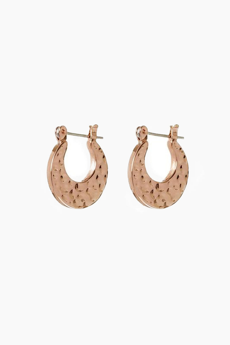 The Mini Hammered Sheet Hoops - Rose Gold