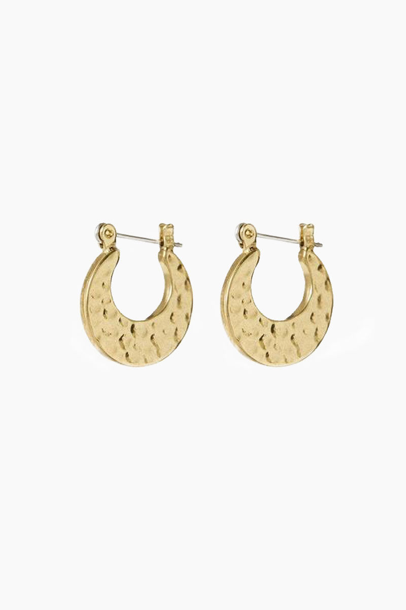 The Mini Hammered Sheet Hoops - Gold